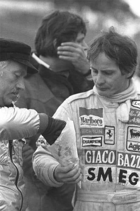 A beautiful moment of Colin and Gilles sharing some chips!  #F1 #Chapman #Villeneuvepic.twitter.com/REfcSdkiCj