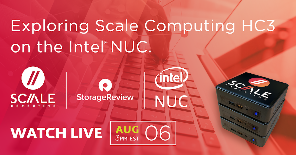 Join us in 10 mins for a #livestream where @ScaleComputing will be showcasing #HC3 #HCI on the @intel NUC live with @storagereview: http://buff.ly/30vakGX pic.twitter.com/kfr2HFVYhj