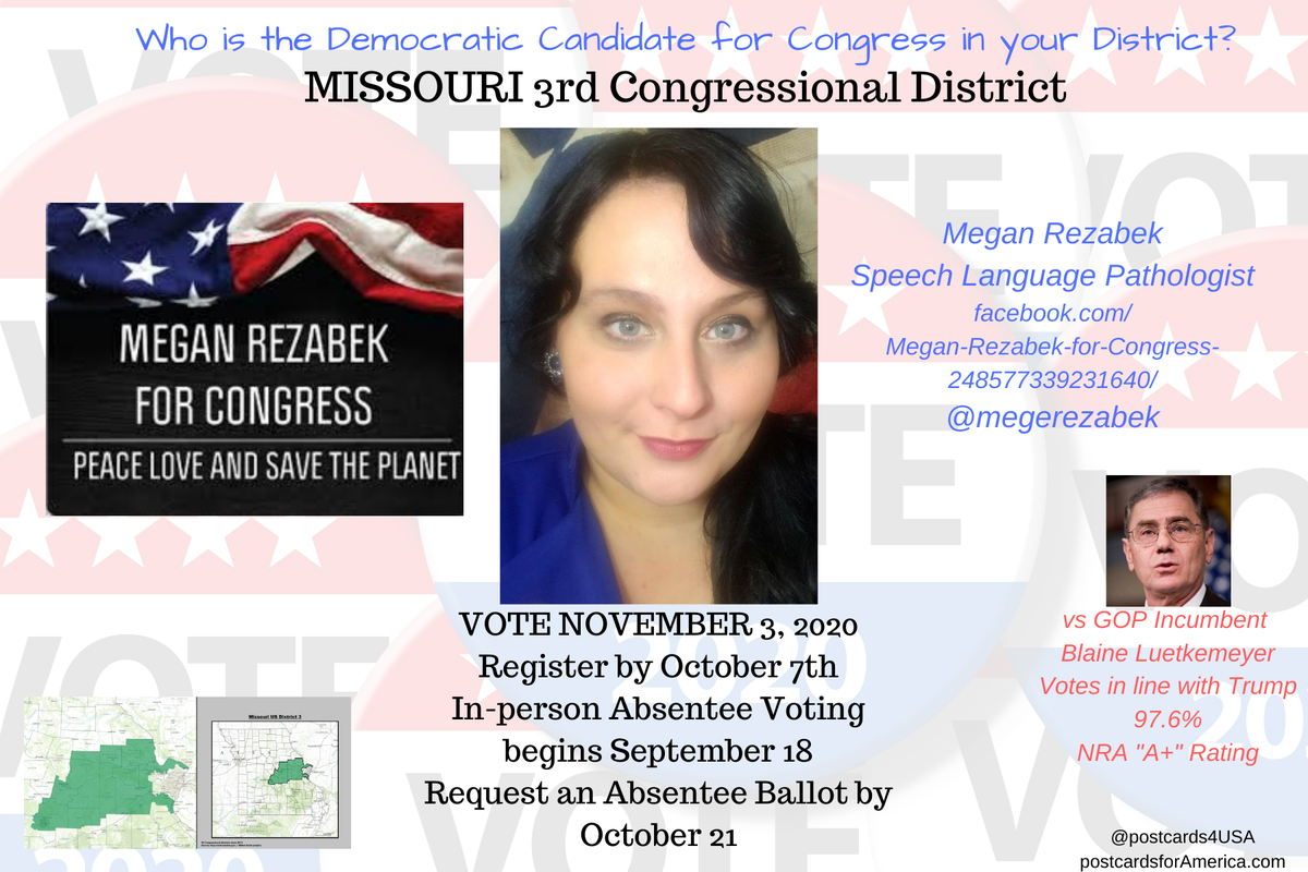 Democratic Candidate MISSOURI 3rd Congressional District #MO03 Megan Rezabek Speech Language Pathologist https://t.co/8zNqf6nH6s @megerezabek  #Congress2020 #NoSafeSeats #PostcardsforAmerica THREAD All 50 States here: https://t.co/1GBCA65gbc https://t.co/FExD7yB9WY