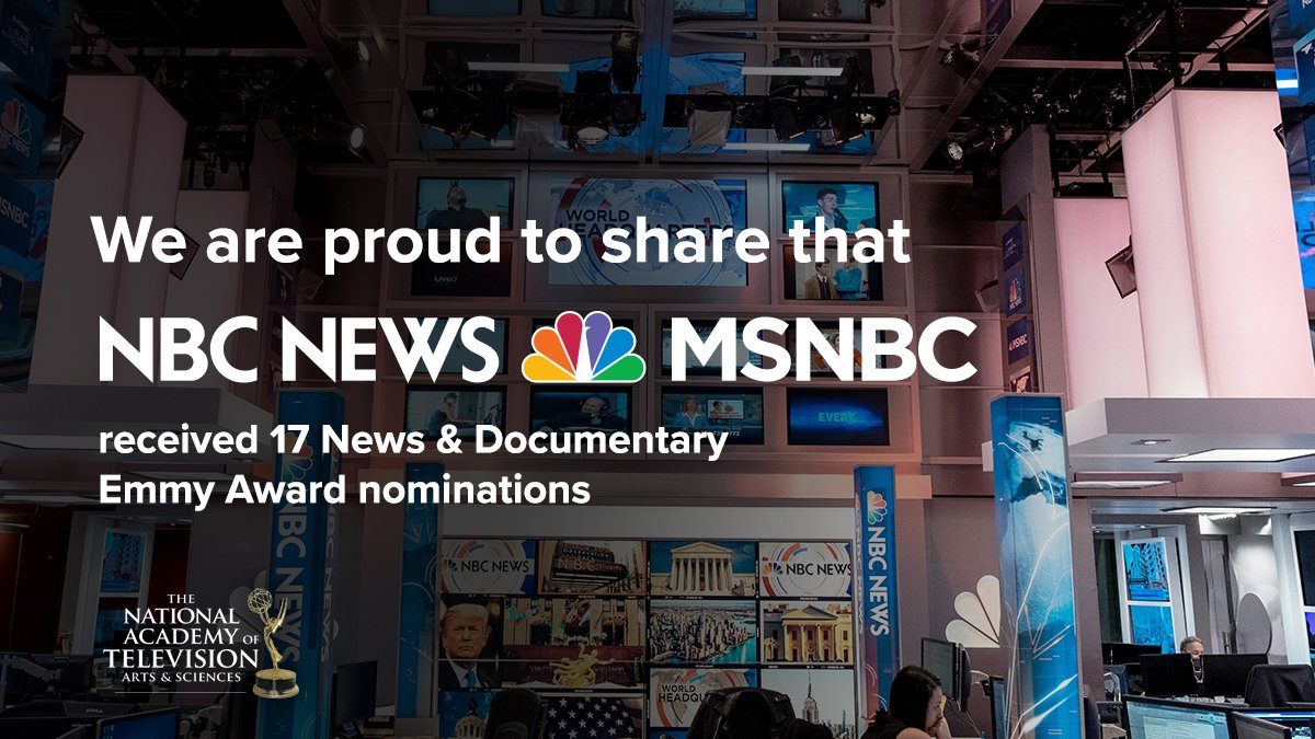 Particularly thrilled for these @NBCNews @newsemmys nominations:   @MeetThePress (Only Sunday show to be nominated)   @NBCNews #DemDebate   #JusticeForAll Town Hall on @MSNBC   @NBCNightlyNews 'Debate Night in Miami'  pic.twitter.com/pRHsEYjjLg