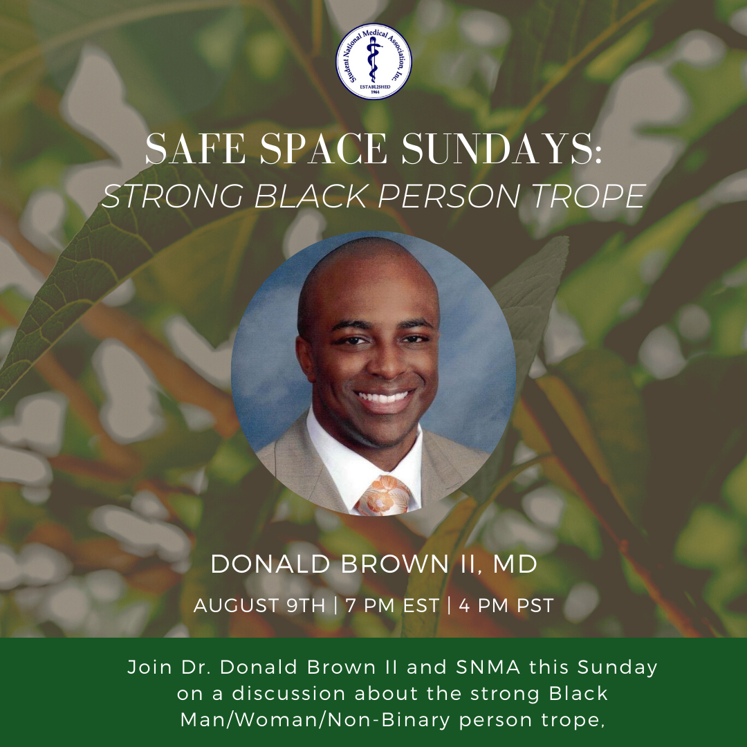 The Strong Black Man/ Woman/ Non-binary Trope is ever pervasive in our society and it often prevents Black people from sharing their pain or struggles. Join us on Sunday August 9th to unpack this phenomenon. Join at this link: ow.ly/IonA50ASpoP #SNMA #SafeSpaceSundays
