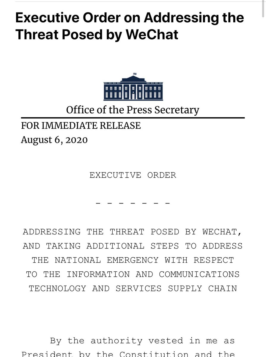 Breaking: President Trump signs executive order on #TikTok and #WeChat https://t.co/IallDxcwOt