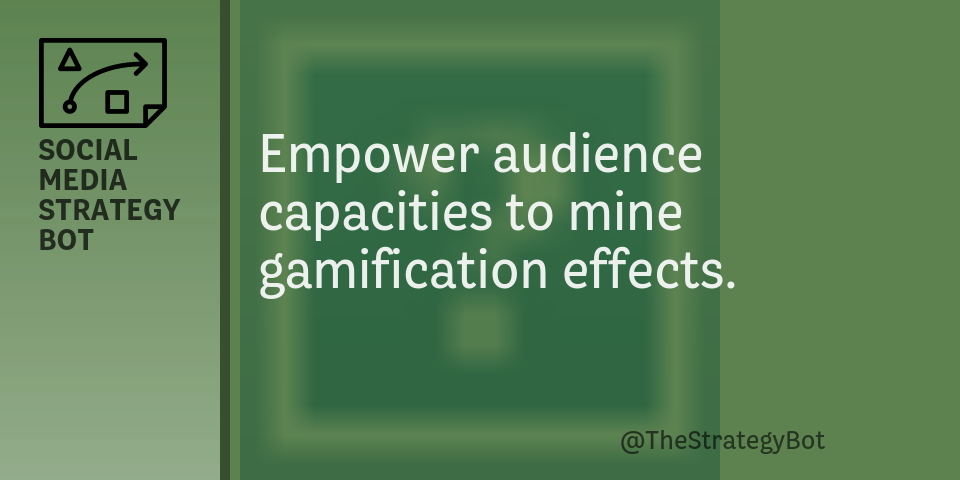 Today's strategy: Empower audience capacities to mine gamification effects. pic.twitter.com/rDPFCgth6B