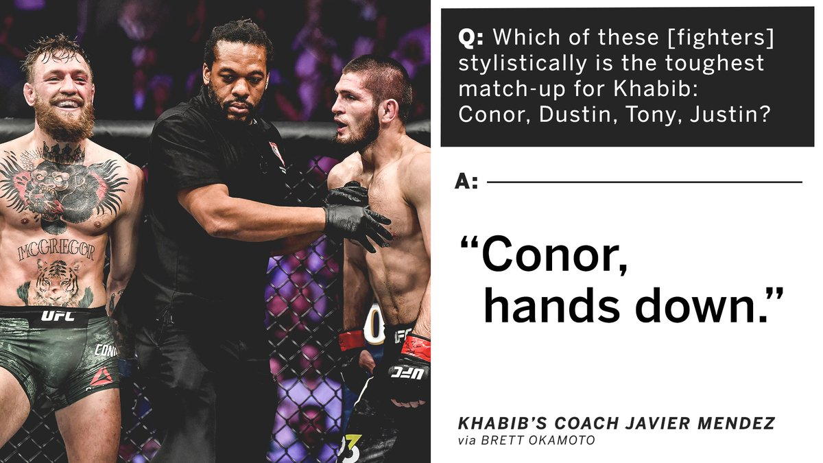 Of the top lightweights, Khabib's coach calls Conor the toughest out 👀  (via @bokamotoESPN) https://t.co/anYxM3cAQb