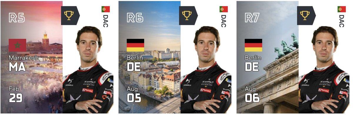 3e victoire de rang pour Antonio Félix Da Costa. Sebastian Buemi et Lucas Di Grassi complètent le podium. #BerlinEPrix  #FormulaE https://t.co/ZEMhqiFTGX