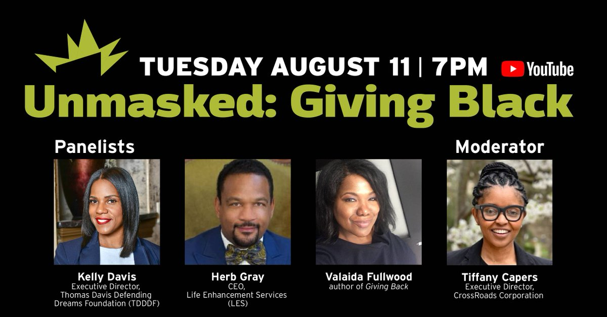Can't wait for our next episode of #Unmasked this Tuesday with panelists @@valaidaf @herbgray and moderator @capers_tiffany! RSVP at https://t.co/uQ2fcxmcPi. #blackphilanthropymonth #philanthropy #blackfundingmatters #volunteer #blackculture #bpm2020 https://t.co/lXSOx7rrZ5