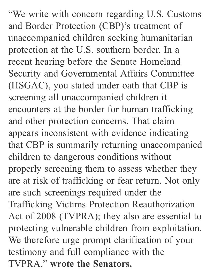 Today, @SenJackyRosen and @SenKamalaHarris sent a letter today asking CBP about how it's screening fear claims from kids who come to the border. https://t.co/VZxJzzSKJz https://t.co/VWPeMBsWpm