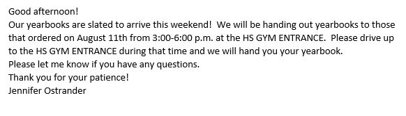 Please see the attached message from Principal Ostrander regarding CV High School 2019-2020 yearbooks. Please wear a face mask when picking up. Please reach out to Principal Ostrander at JOstrander@cvcsd.stier.org if you have any questions. pic.twitter.com/mI88lvPnR9