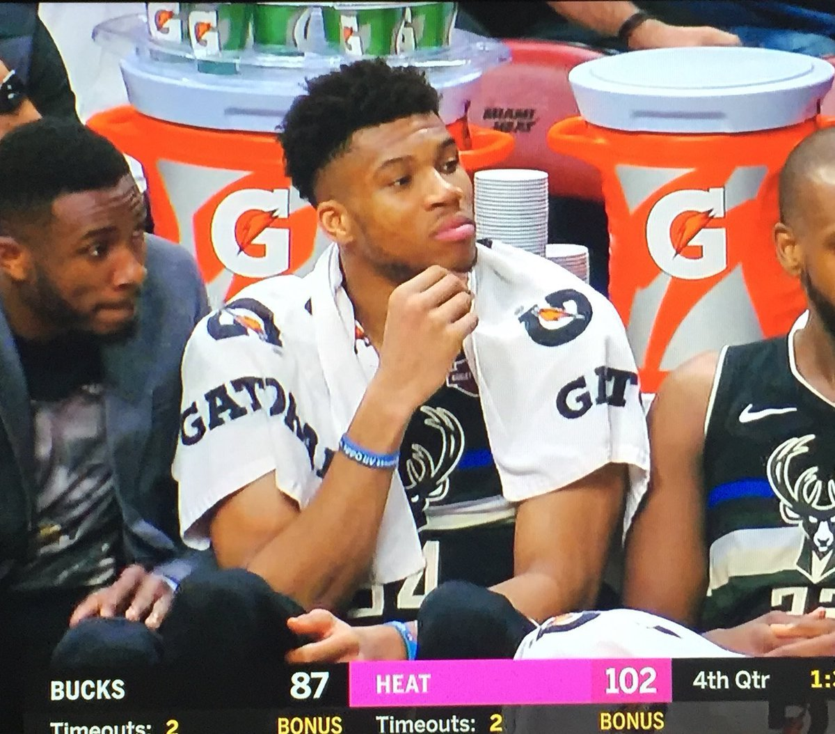 The Heat always leaves Giannis thinking about something 😂😂😂