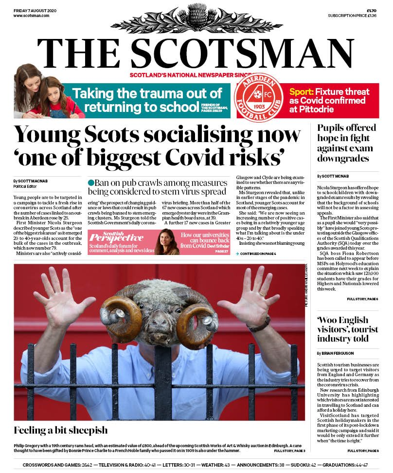 SCOTSMAN: Young Scots socialising now 'one of biggest Covid risks' #TomorrowsPapersToday