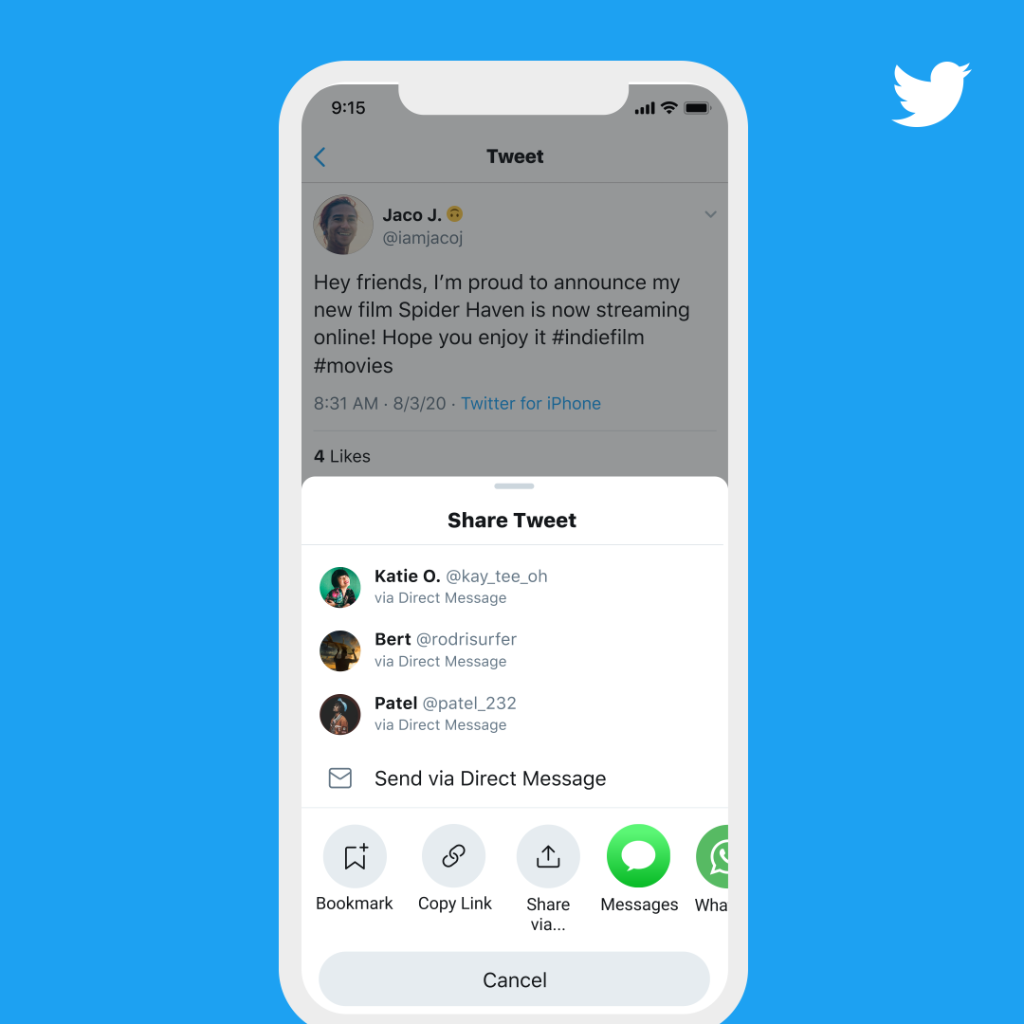 """Share Tweets even faster. Now testing on iOS: when you tap the share icon on a Tweet, your top apps will be on the """"Share Tweet"""" menu for easy access."""