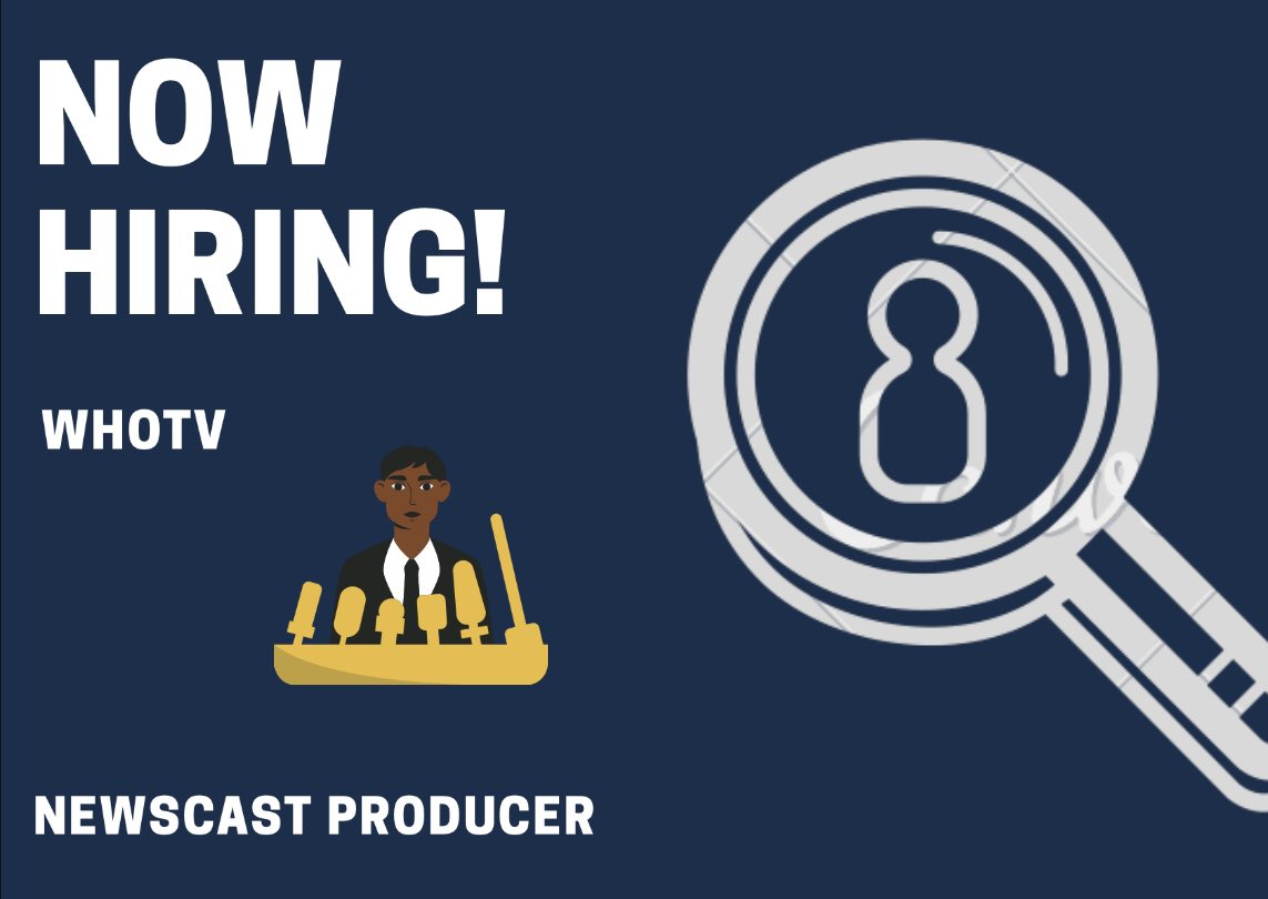 Guess who's hiring this week ?  WHOtv and they are looking for a FULLTIME Newscaster Producer! Click the link for details .  http://www.whotv.com/  #blogger #digitalmarketing  #instagood #instalove #lifestylepic.twitter.com/zbR3ynRbJ6