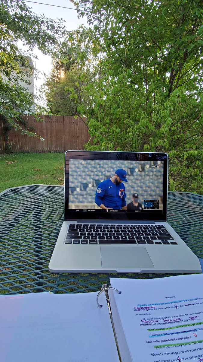 This is my view for #editing this evening. #amwriting #GoCubsGo #WritingCommunity #MLBpic.twitter.com/HQLhCeej3X