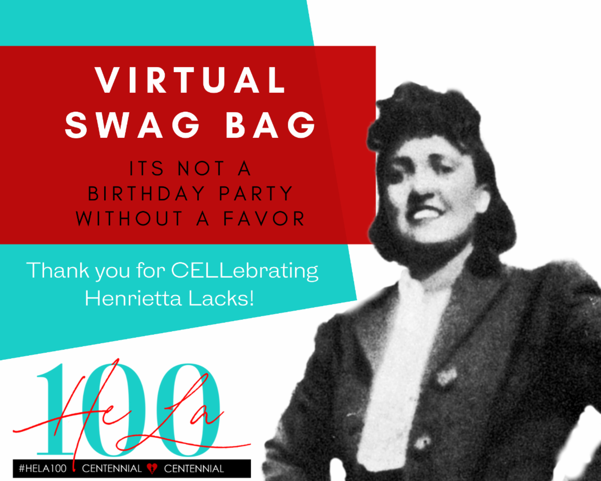 #ThankfulThursday for you CELLebrating our grandmother's 100th birthday on 8/1 - the launch of #HELA100 our 365-day CELLebration honoring the legacy of #HenriettaLacks! Check out our #HELA100 Symposium virtual swag bag! https://t.co/Tee6MBbEsT https://t.co/H7MgXQCnRV