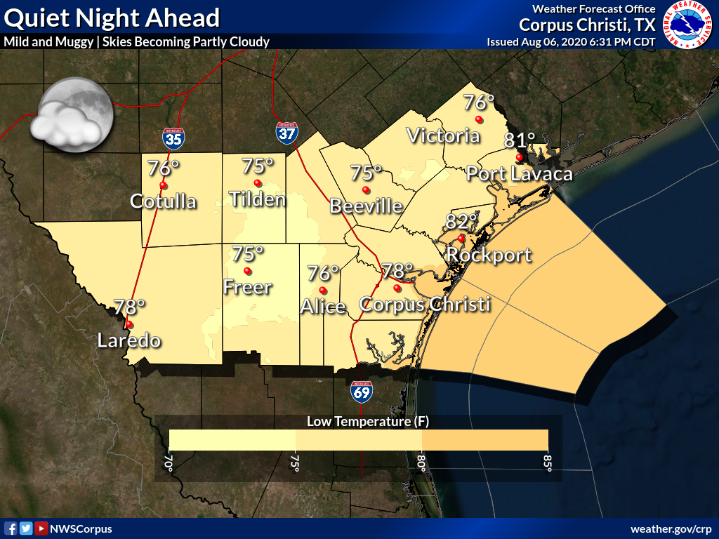 Mostly clear skies will turn partly cloudy late tonight. Lows will be in the mid to upper 70s, with lower 80s along the coast. #txwx #stxwx