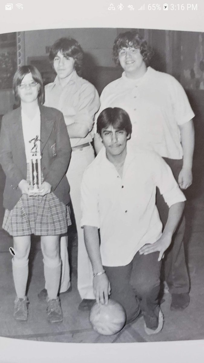 My 1977 freshman yearbook 1st place bowling. Guess which one is me