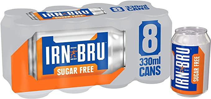 Pack of 8, IRN-BRU Sugar Free Drink Cans, 330ml - £2.84 2
