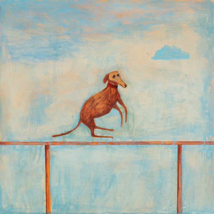 'Dog Jumping', by Noel McKenna, from 'The Night is Doubtful', the artist's exhibition of recent paintings, ceramics, sculpture and installations at Darren Knight Gallery in Sydney: https://www.darrenknightgallery.com/artists/mckenna/noel-mckenna/… #artexhibitions #artgalleries #paintings #sculpture #ceramics #sydneypic.twitter.com/tz2JSjG04t