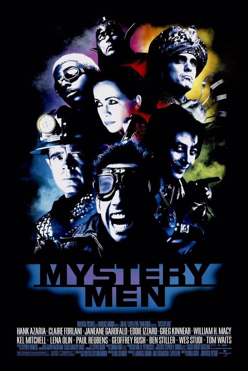MOVIE HISTORY: 21 years ago today, August 6, 1999, the movie 'Mystery Men' opened in theaters!  #BenStiller (@RedHourBen ) @WilliamHMacy #HankAzaria #JaneaneGarofalo #PaulReubens #KelMitchell #WesStudi #GeoffreyRush #EddieIzzard #GregKinnear #ClaireForlani #LenaOlin #DougJonespic.twitter.com/ngrCpud6bL