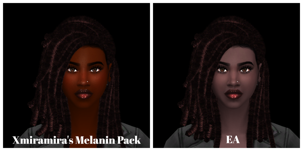 This is why we need better skin tones in #TheSims4. I went into the game and selected four of the darkest skin tones from both #TS4 base game and @Xmiramira's Melanin Pack. The EA skin tones lack the richness and life that comes with melanin infused skin. #EAListen https://t.co/2J7CQCInTj