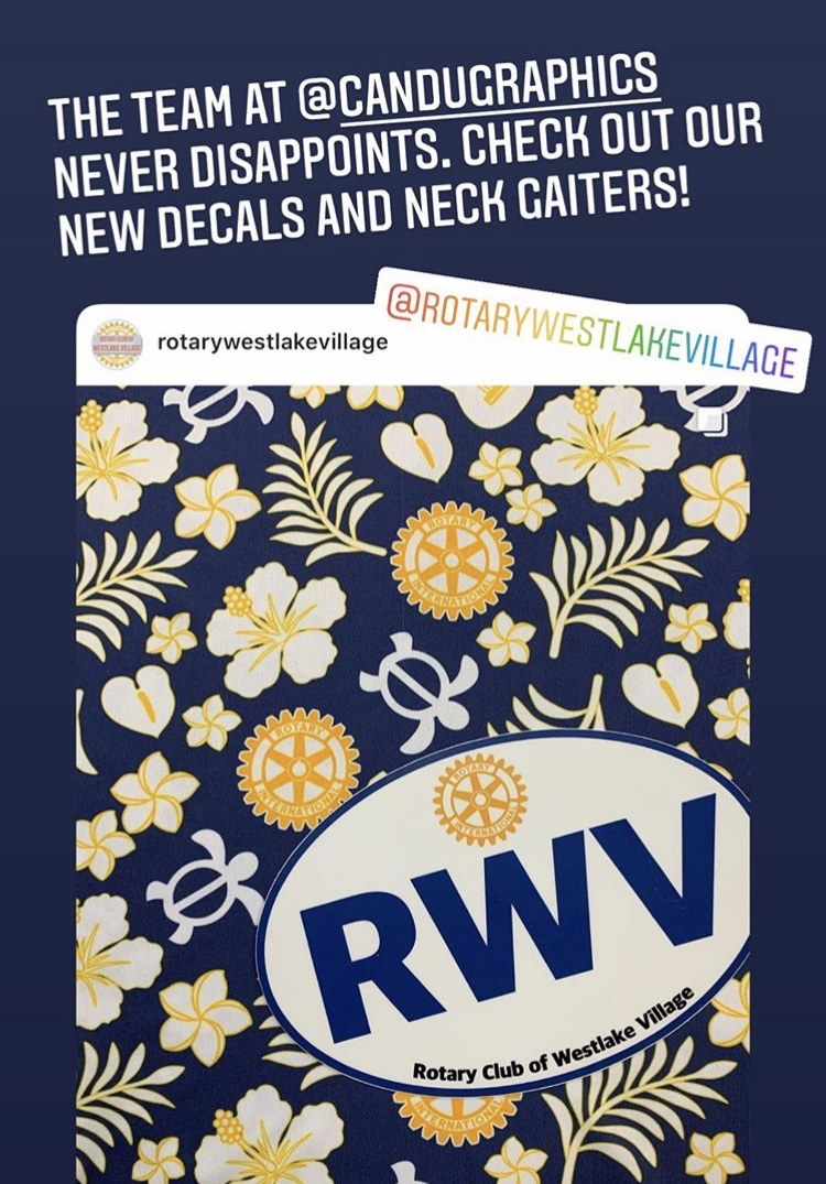 Have you seen the neck gaiters and #decals made for the Rotary Club of Westlake Village?! If you would like to order personalized #NeckGaiters and/or decals, we are here to help!  . . . #NewburyPark #WestlakeVillage #ThousandOaks #Oxnard #Camarillo #Calabasas #SimiValleypic.twitter.com/m9aa2cZusr