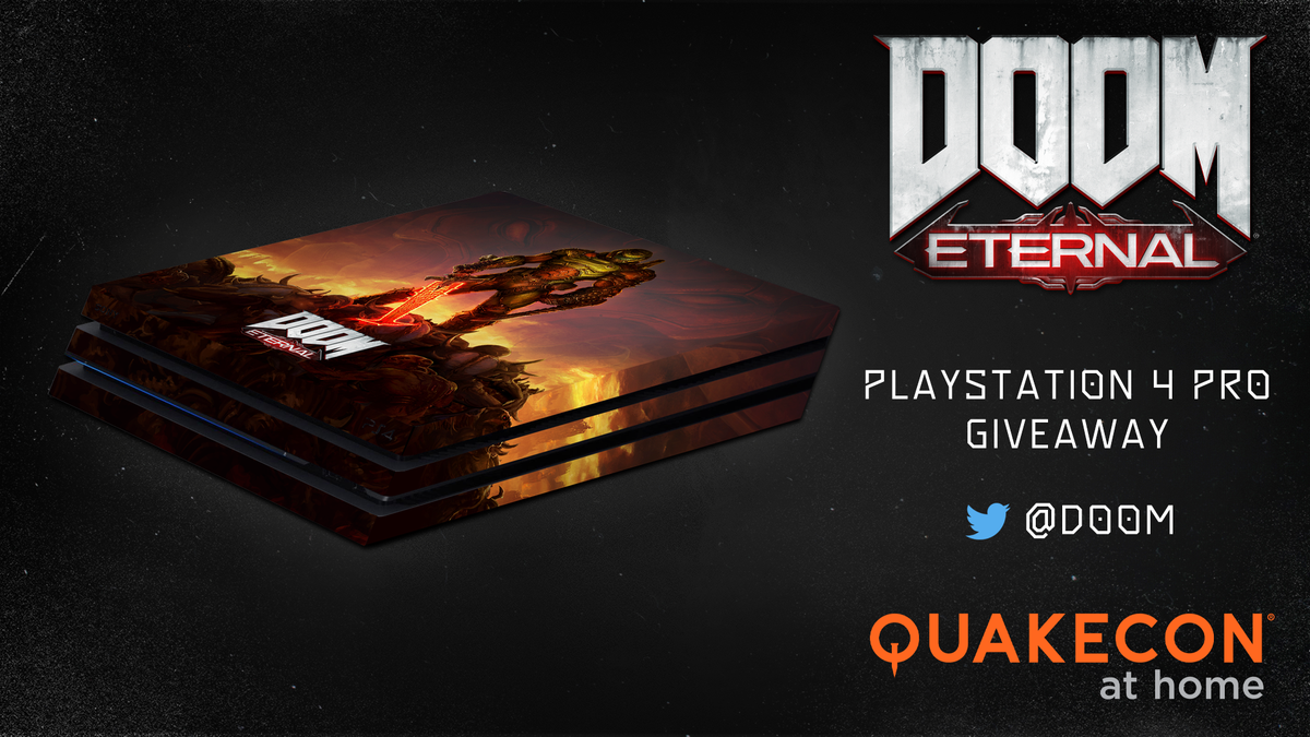 🤘 The @QuakeCon custom @DOOM Eternal @PlayStation 4 Pro giveaway is upon us. 🤘  Follow and RT to enter. #DOOM #QuakeCon #QuakeConGiveaway  Rules below. https://t.co/wG4hsoOozF