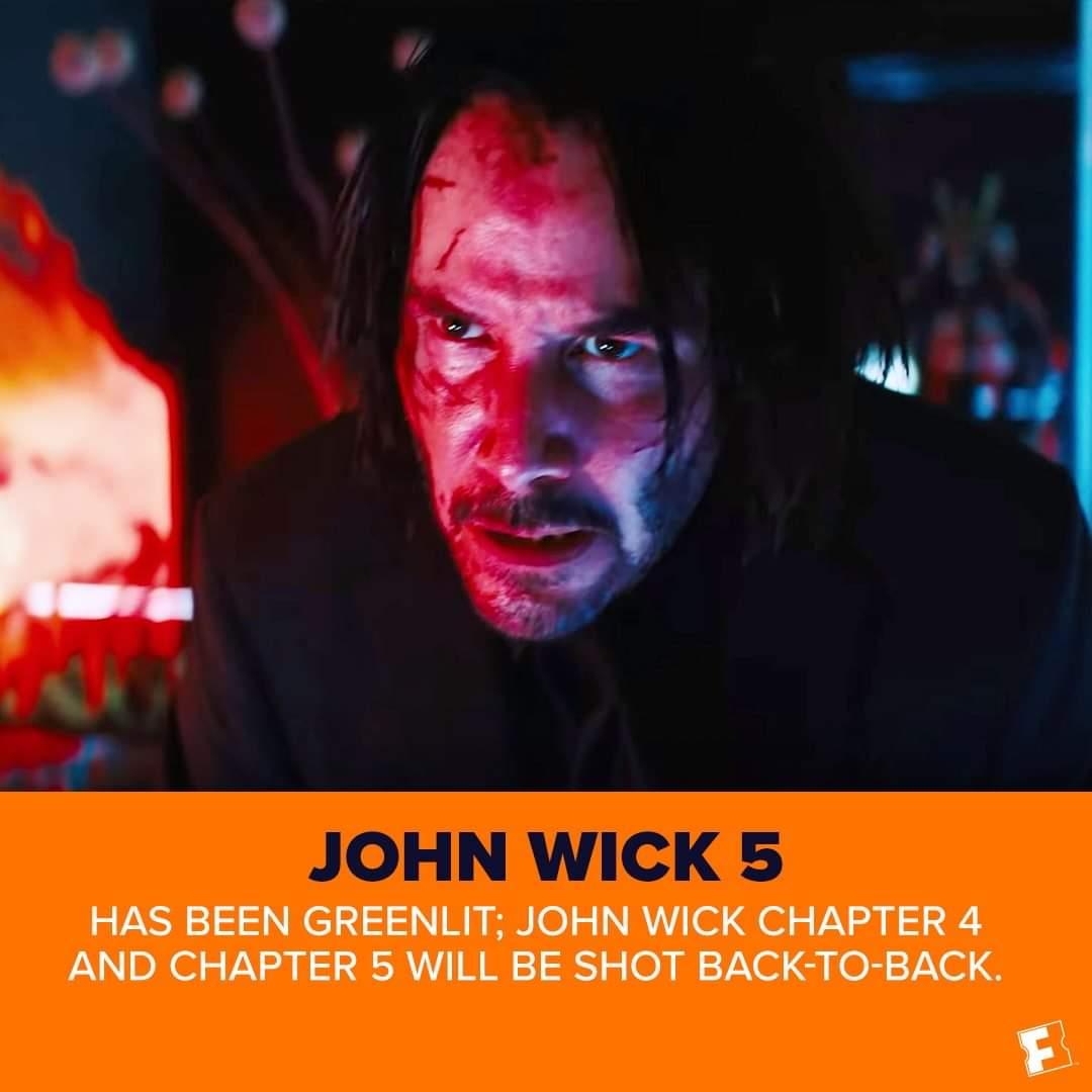 ഇനിയും എന്തോരം ശവങ്ങൾ വീഴാൻ കിടക്കുന്നു...!!  #JohnWick 5 has been confirmed by Lionsgate. #KeanuReeves and the studio are aiming to shoot #JohnWick 4 and 5 back to back next early next year.pic.twitter.com/OloYz5WZS2