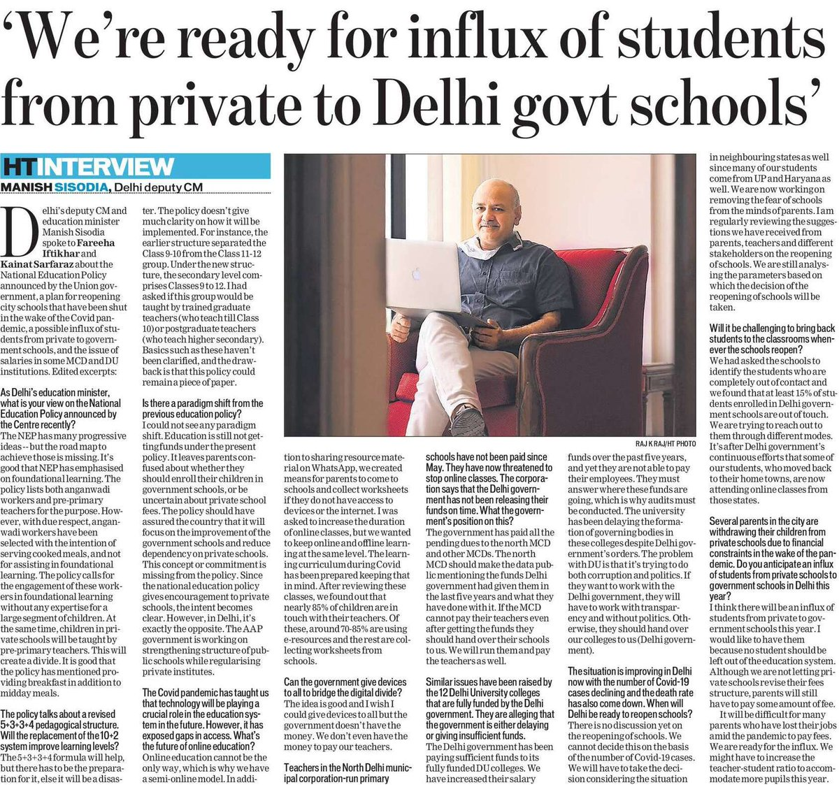 Were ready for influx of students from private to Delhi Govt schools: Honble Dy CM shri @msisodia Read Honble Deputy Chief Ministers exclusive interview with Hindustan times