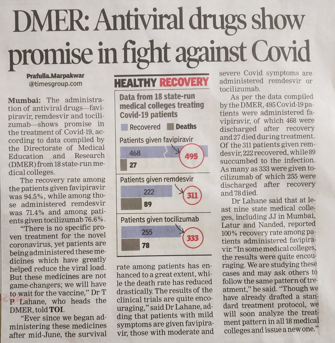 Data from Maharashtra's 18 Govt. Medical colleges (GMC) treating #COVID__19 patients   Recovery Rate (RR) among patients given  1. Favipiravir : 94.5% (468/495) 2. Tocilizumab : 76.6% (255/333) 3. Remdesvir : 71.4% (222/311)  ATLEAST 9 GMC's reported 100% RR for Favipiravir ! https://t.co/rol00UdQEv
