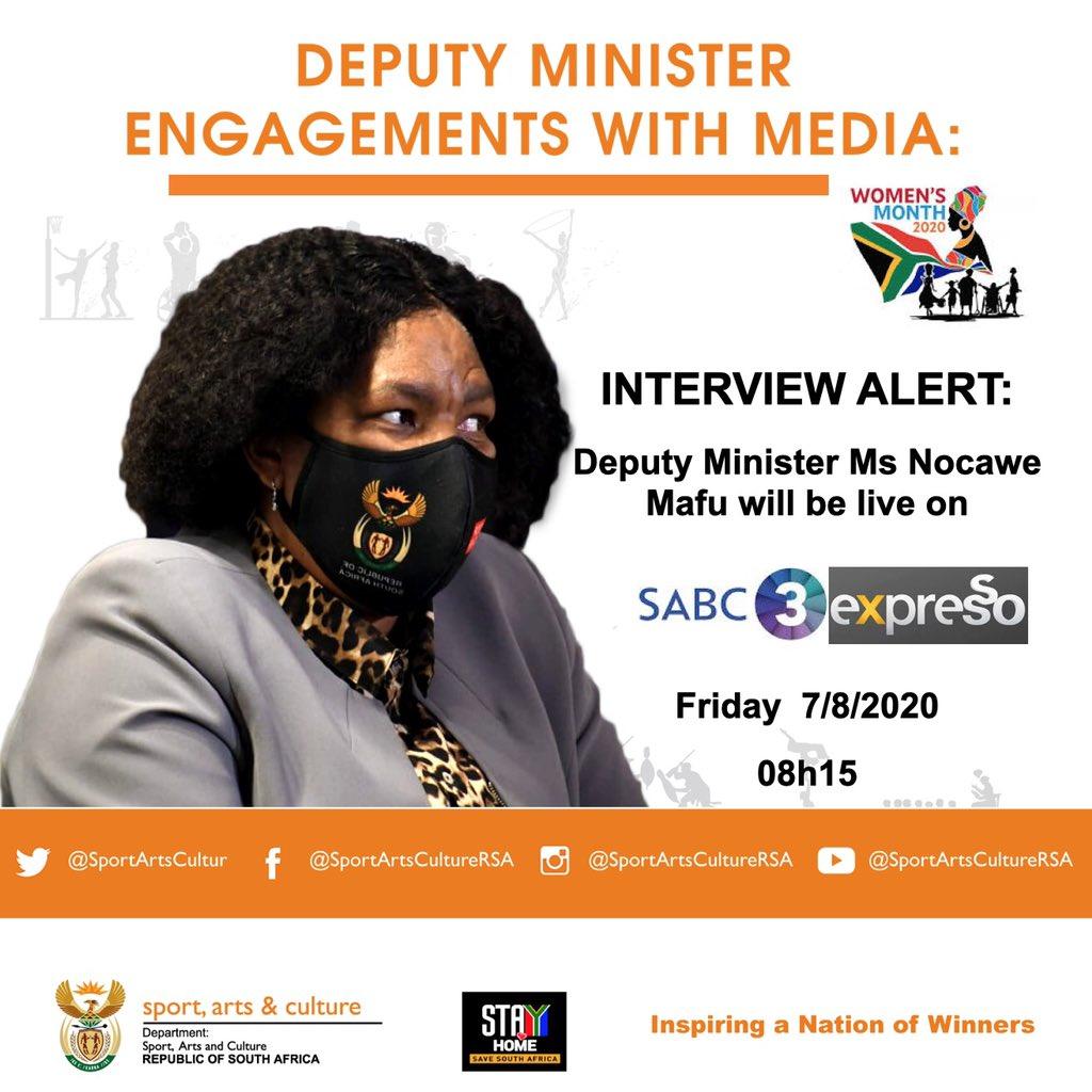 #InterviewAlert: Dep. Minister @MafuNoncedo will be live on @SABC3 @expressoshow at 8:15 this morning. #IamGenerationEquality #womensmonth2020 #WomensDay #WomandlaInSport #WonandlaInArts #WomandlaInFitnesspic.twitter.com/tSqoZT75yU