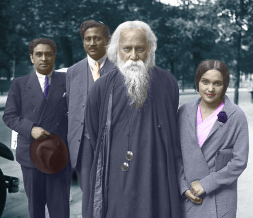 Tribute to legendary Poet/Writer/Song composer & Painter; first non-European Nobel laureate, National Anthem writer of India & Bangladesh; #RabindranathTagore on death anniversary #Gurudev #Tagore with #DevikaRani & #HimanshuRai #vinatge #colored #BollywoodFlashback pic.twitter.com/bb9x3BtUfQ