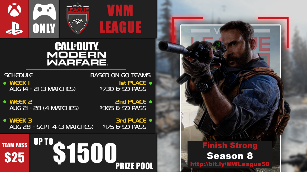 @vnmTourney Season 8 #MW #vnmLeague begins Aug 14  Check out what it has to offer  $25 -> 5 w/ up to 3 subs $3 -> In-Game Stats  🎮Controllers ONLY PS/XB  up to $1,500 Prize Pool  Join via link↙️ https://t.co/owgpmGzh54  @ImLiveRT @FMC_RTs @tools_by_ezio @CCG_RTs https://t.co/YasUL7QFDD