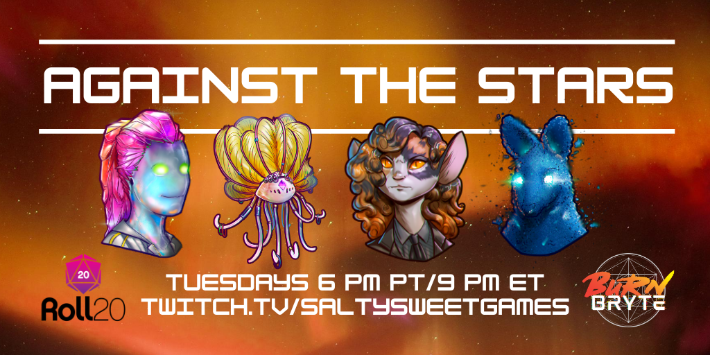 Are you sad that tonight's #BurnBryte: Burning Daylight actual play is over and now you have to wait a whole week for more Burn Bryte?   Well, no longer! @saltysweetgames will be starting their own campaign within Olaxis on Tuesday, August 11 at 6pm PT.  https://t.co/X4WlA2asBD https://t.co/iQLiHJsDBw