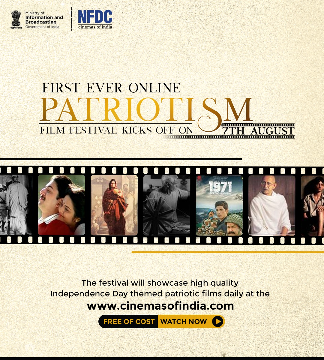 Celebrate 73 years of independence with the online #PatrioticFilmFestival organized by @MIB_India from 7th to 21st August 2020. The festival showcases Indian history that marks the bravery of our freedom fighters.  Visit https://t.co/it73UnCPPE to watch free of cost. https://t.co/gqYfQeeLV5