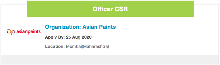 #JobOpening Asian Paints is hiring for the role of  - Officer CSR - to monitor budgets and ensure CSR budgets are spent with a high accuracy level  Details  - https://ngobox.org/job-detail_Officer-CSR-Asian-Paints-_47063…  #CSR #CSRbudget @asianpaintspic.twitter.com/VT92TACZdT
