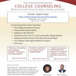 Image for the Tweet beginning: Free College Counseling Webinars -
