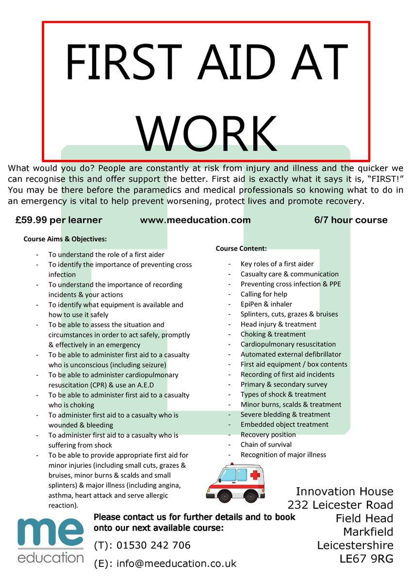 BOOK NOW! info@meeducation.co.uk or 01530 242 706 #firstaidtraining #workplacetraining #workplacesafety #emergency #trainingprovider #stafftraining #trainingcourse #qualificationpic.twitter.com/UZSHprZjlQ