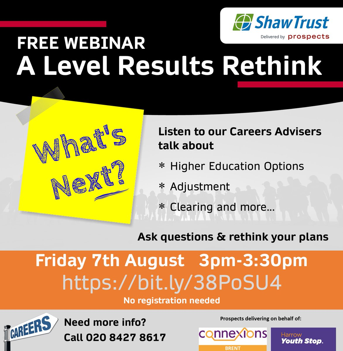Don't miss the A Level results rethink webinar - TODAY at 3pm Set a reminder and join us via https://bit.ly/38PoSU4  #CareersAdvice for teenagers #London borough of #Harrow 020 8427 8617  #JobSearch #University #Degree #GapYear #Apprenticeship #HarrowWebinars #UCAS #Clearingpic.twitter.com/XFhpofNUl7
