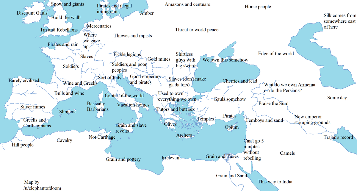Hilarious Roman Empire stereotype map. I was born somewhere in the fickle legions and thieves & rapists region - yikes... Source: https://t.co/3cczaz4jkh https://t.co/PjHoXaMv6k
