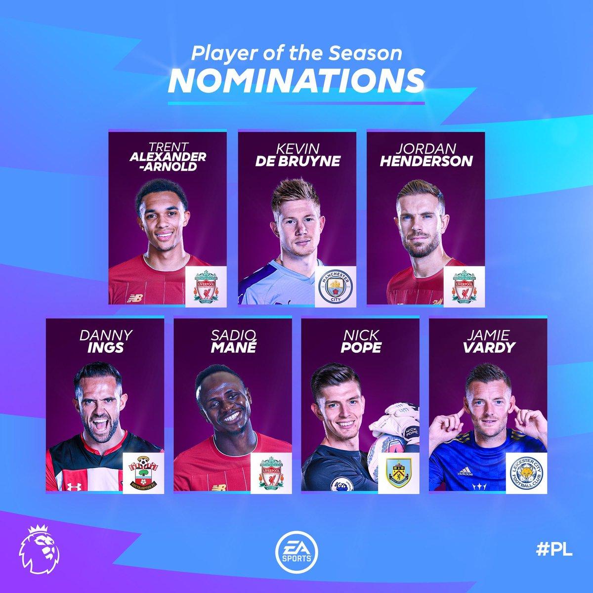 Nommés meilleurs joueurs de la Premier League