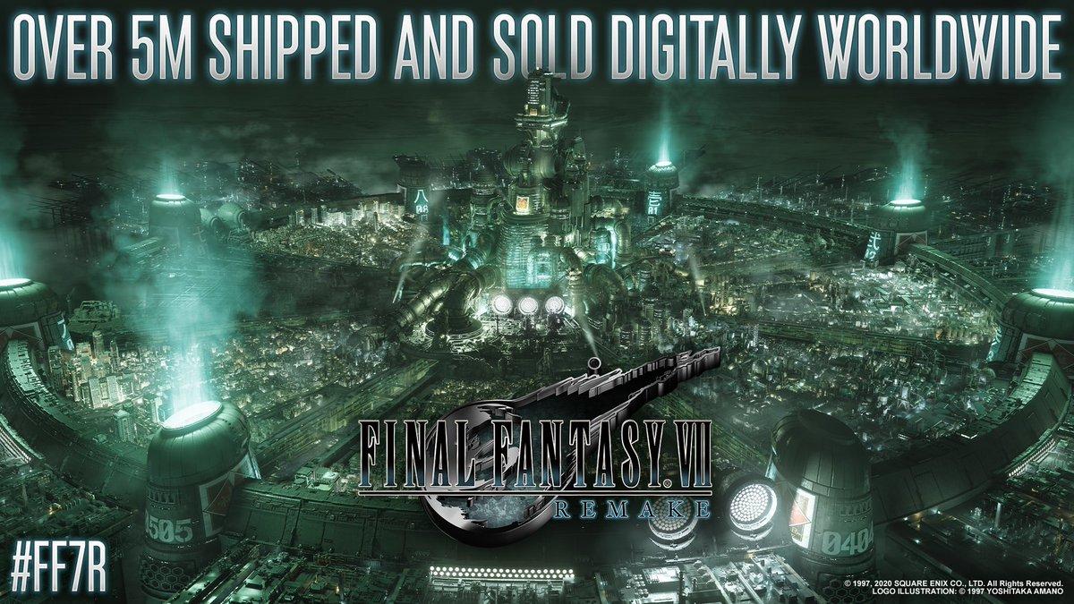 سكوير اينكس تعلن رسمياً بيع وشحن اكثر من 5 ملايين نسخة من  Final Fantasy VII Remake  وبذلك تصبح اكثر لعبة مبيعاً على منصة بلايستيشن الرقمية في تاريخ سكوير اينكس #FF7R #SQUAREENIX https://t.co/GESCGWwejh