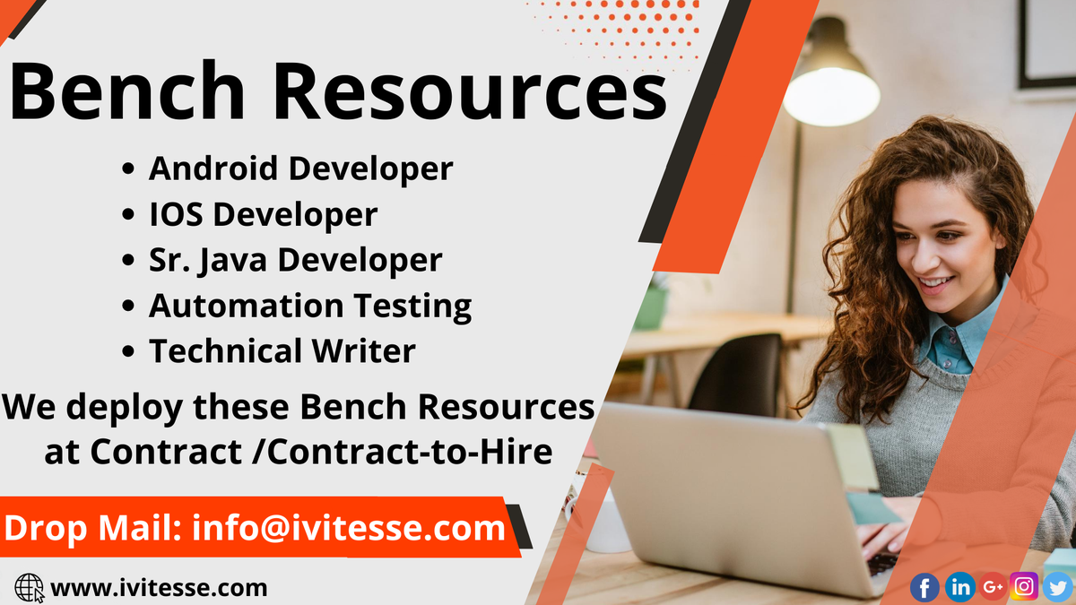 We Can Deploy these Bench Resources on Contract/ Contract-to-Hire.   Drop E-Mail:  info@ivitesse.com   #BenchResources #resources #Contract #contracttohire  #androiddeveloper #iosdeveloper #seniorjavadeveloper #javadeveloper #automationtesting #technicalwriter #ivitessepic.twitter.com/B1IMRNk143