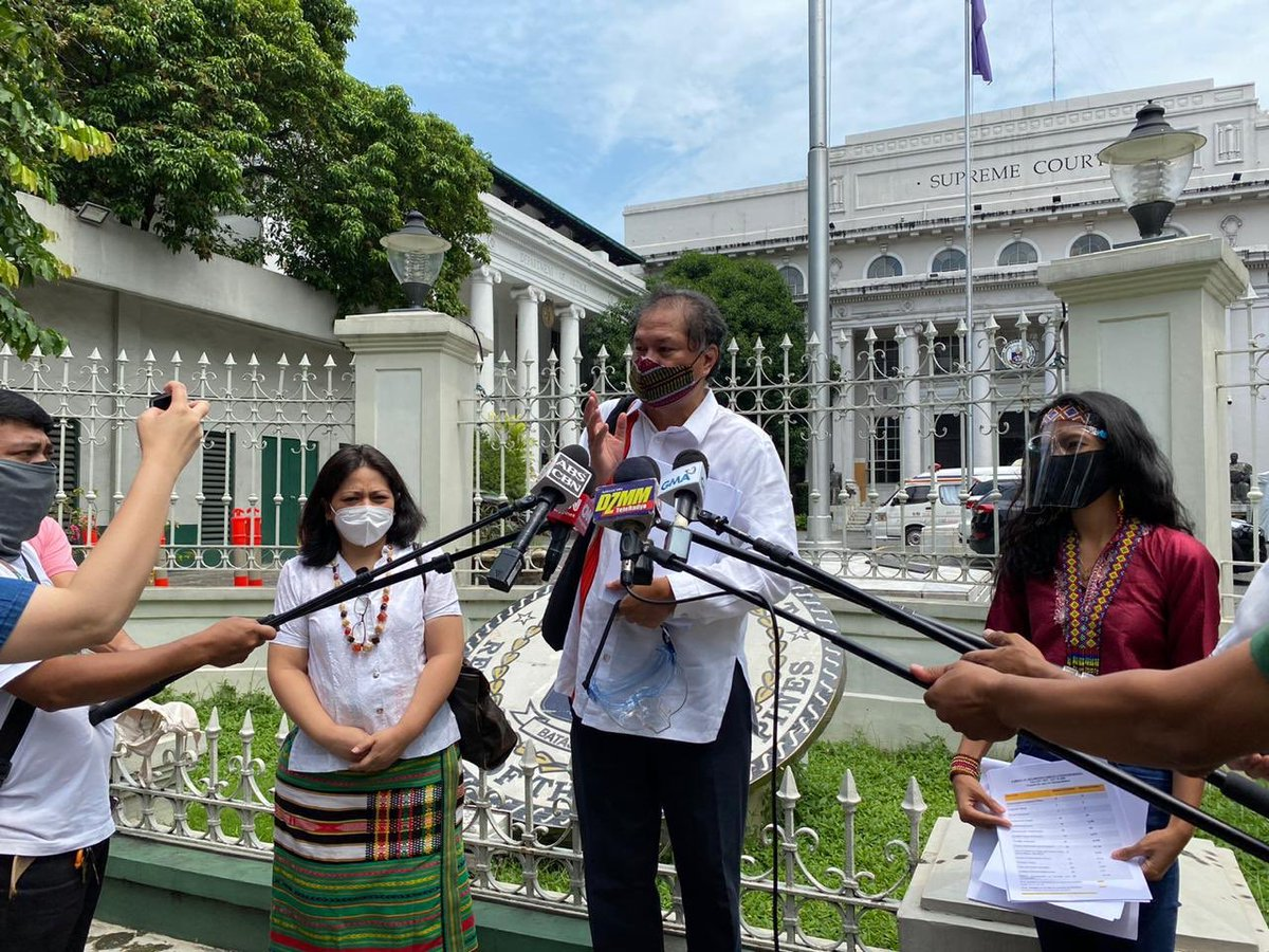 ICYMI | A group of Moro, indigenous and civil society organization leaders from Mindanao filed the 26th petition against the controversial Anti-Terrorism Law at the Supreme Court today, August 7  #JunkTerrorLawNow  Photos from Mike Navallo pic.twitter.com/UajuQ1iL6j