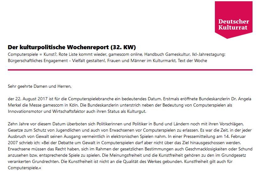 Image for the Tweet beginning: Der kulturpolitische Wochenreport (32. KW)