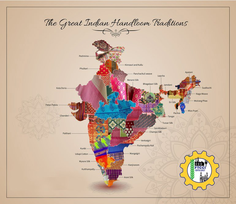 Handlooms have always been deeply woven into the fabric of #IndianCulture. Use & Promote #Handlooms to Revive, Rebuild and Restructure our Rich and Beautiful Heritage. @FTCCI wishes all a very Happy #NationalHandloomDay2020 #Vocal4Handmade #TelanganaHandlooms  #AtmaNirbharBharatpic.twitter.com/YW8emvRL98