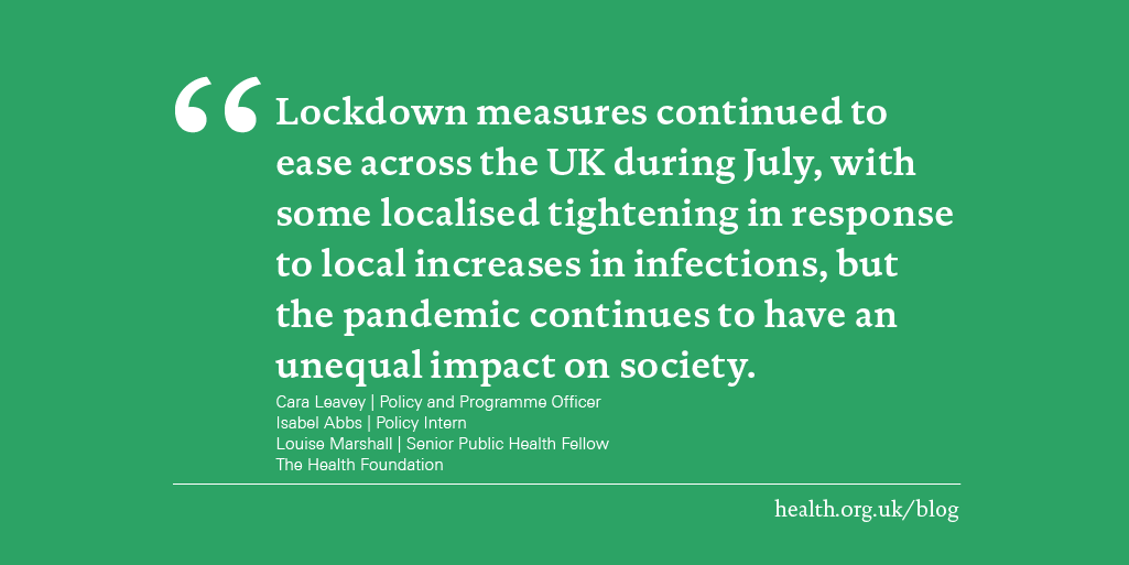While the further lifting of lockdown means a return to many aspects of pre-pandemic life, local lockdowns and increased caution reminds us that the pandemic is far from over.  Read more here in the @HealthFdn blog:  https://bit.ly/3ihVXvEpic.twitter.com/5Fivgebe3c
