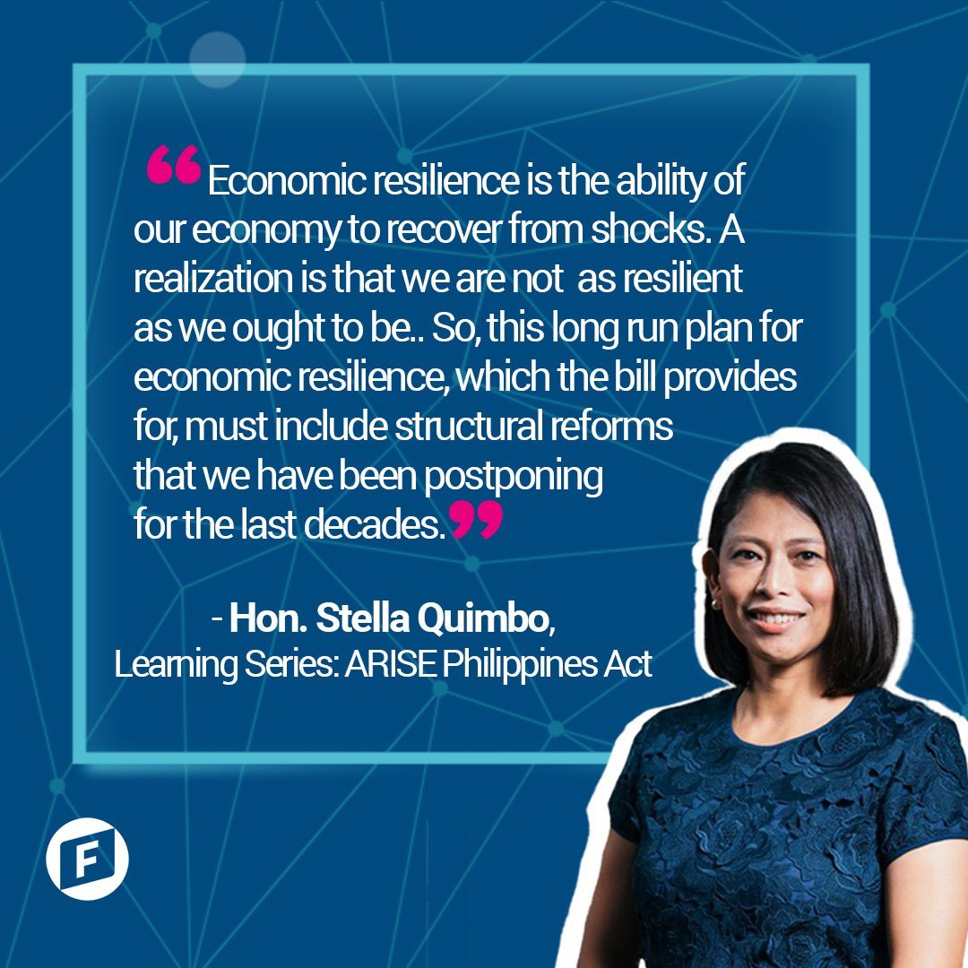 The impact of the pandemic is felt in the region particularly in the Philippines which has plunged into a recession after almost thirty years!  Principal Author, Hon. Teacher Stella Quimbo plans to revive the economy post-pandemic through the ARISE Act. https://t.co/nbLwkl1N8B