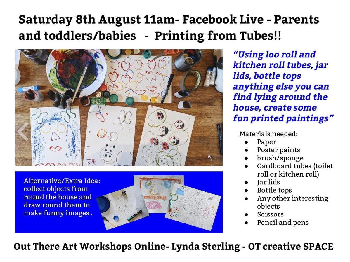 We will be going live over on our Facebook page with the wonderful Lynda from OT creative SPACE for a fantastic fun art session for the young and old! Join us tomorrow morning at 11am! All welcome 😊facebook.com/OutTheresfop