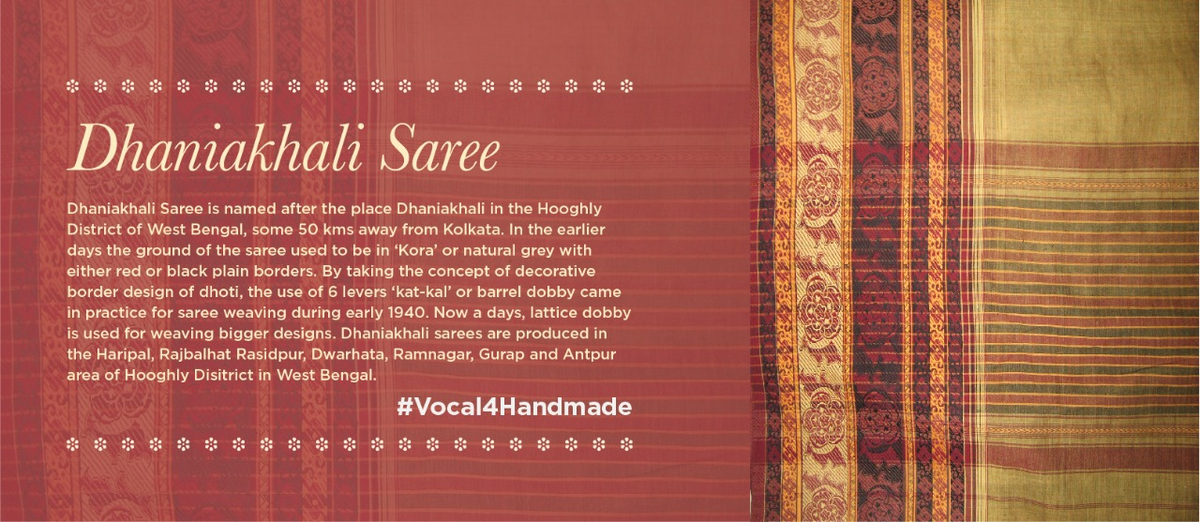 Dhaniakhali sarees are woven not in very close texture but with contrasting borders emphasized by a serrated edge motif. These wide borders known as 'maatha paar' or 'Beluaari paar' were often in two colours with a compact weave thus making it very strong. #Vocal4Handmadepic.twitter.com/p2iAEEkBRF