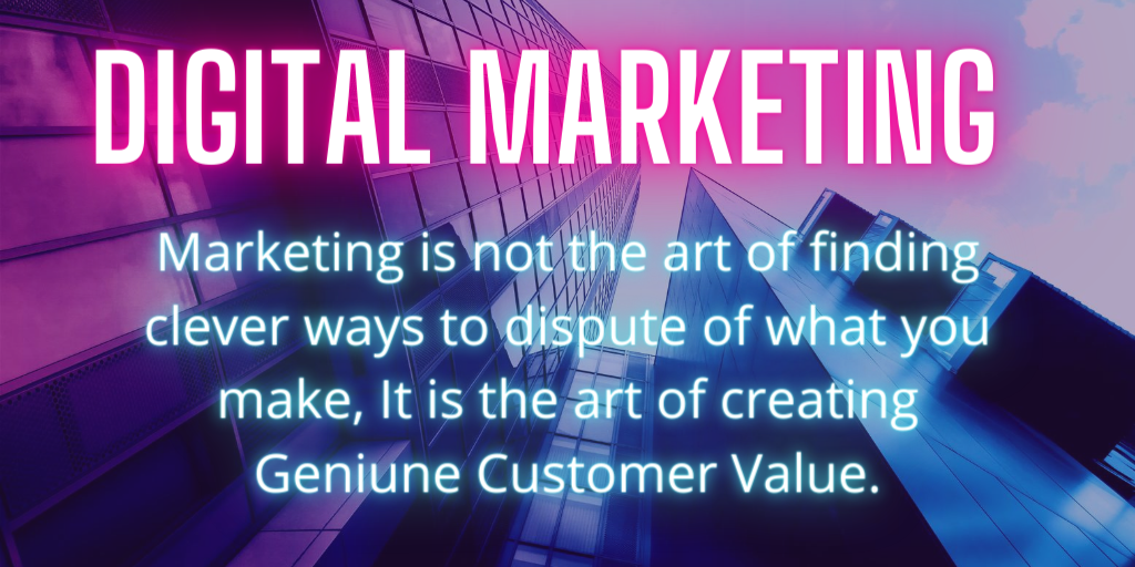 Marketing is not the art of finding clever ways to dispute of what you make, It is the art of creating Geniune Customer Value. #DigitalMArketingServices #InternetMarketingCompany #DigitalSolutions pic.twitter.com/Qs1SSFUSs9